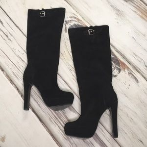 Steve Madden Boots Knee High Heel Black Suede 8.5